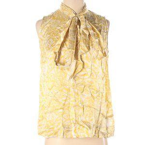 CAbi Blouse Sleeveless Silk Tie Yellow Small